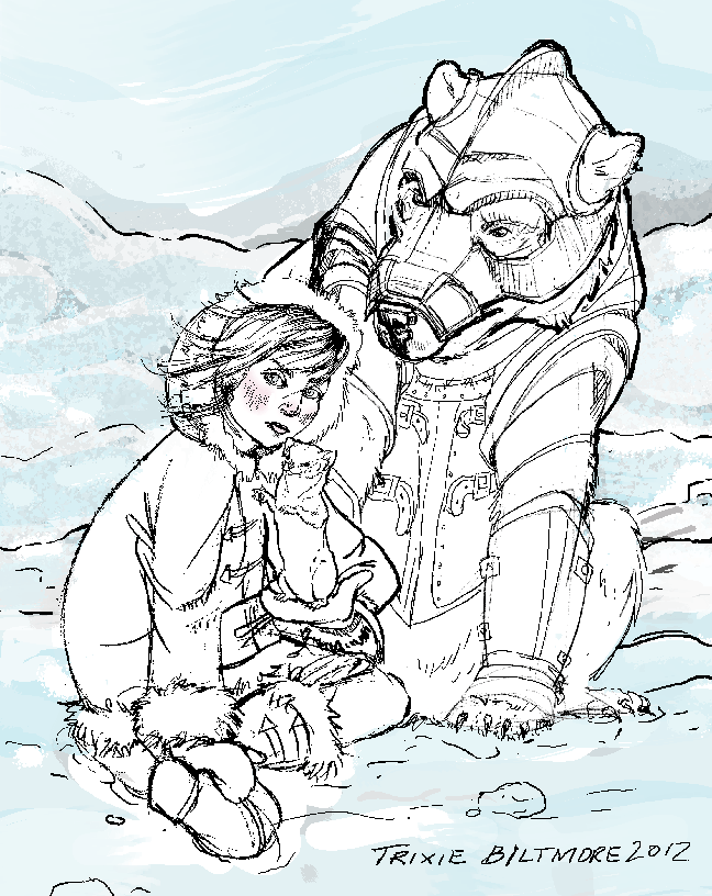 Work In Progress: The Golden Compass – Lyra, Pan, and Iorik the Armored Bear